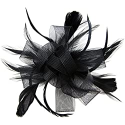 HowYouth Diadema Tocado de Plumas de Flores Boda Headwear Ladies Carrera Royal Ascot Pastillero Cocktail Party Derby Sombrero (Negro)