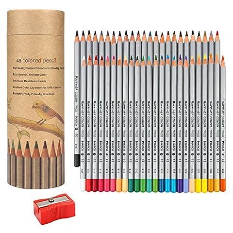 NIUTOP 48 Farben Buntstifte Farbstifte von Marco Raffine Set mit Cylindre für Malen, Ausmalen, Skizzieren Colorieren oder Schreiben für die Schule oder Hobbyzeichner