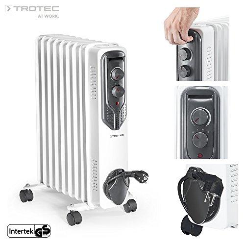 TROTEC Elektro Heizung Ölradiator TRH 20 E (2000 Watt, 3 Heizstufen, Thermostat, 4 Lenkrollen, praktische Kabelaufwicklung, integrierter Griff) (3 Heizstufen)
