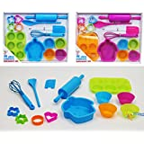 14 Piece Childrens Silicone Bakeware Baking Set - Cupcake Cake Cutters Cookie Moulds