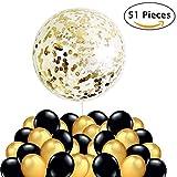 50 Globos Oro y Nero + 1 Globo de Confeti Gigante XXL Confetti Balloon. Globo Transparente con Confeti Dorado, Decoracion Nochevieja 2019, Fiesta de Año Nuevo, Boda, Cumpleaños, Graduacion