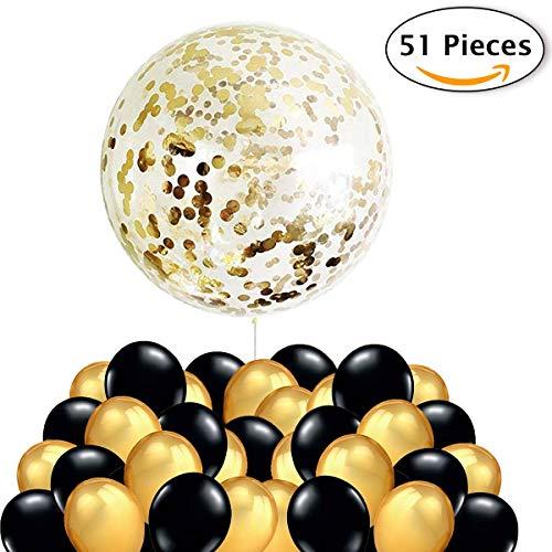 50 Luftballons Gold Schwarz Ballons + 1 Riesen Konfetti Luftballon Golden, Silvester Deko 2019 Party Dekoration für Hochzeit, Geburtstag, Abschlussfeier und Geburstagsdeko