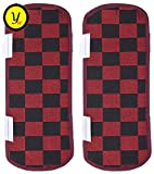 #5: Yellow Weaves™ Multi-Purpose Maroon & Black Handle Cover for Refrigerator,Car/Oven - 14 X 6 Inches (Pack of 2)