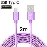TheSmartGuard | USB-C Kabel auf USB 2.0 | Nylon Ladekabel mit USB-Typ-C-Anschluss | Länge: 2 Meter / 2m | Farbe: LIla