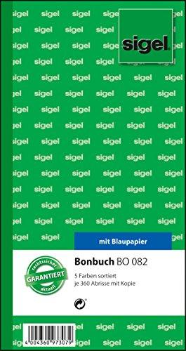 Preisvergleich Produktbild Sigel BO082 Bonbuch 5 Bücher á 360 Abrisse in gelb, rosa, weiß, grün, blau, 10,5 x 20 cm, 2x60 Blatt