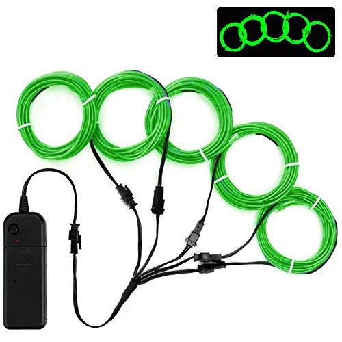 Lychee Leuchtdraht, 5 x 1 m, Neonlicht, EL-Draht, mit Batterie-Pack für Partys, Halloween-Dekoration grün