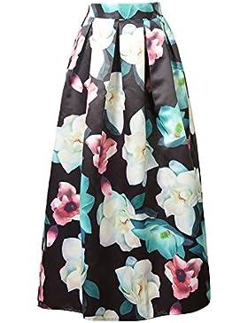 Mujer Casual Alta Cintura Swing Falda Plisada Largo Maxi Faldas