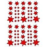 Oblique Unique® Weihnachts Sterne Sticker Aufkleber - Deko Weinachten - Farbe wählbar (Rot)