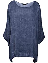 Damen-Frauen Italian Cotton Plain Loose Fit Batwing Lagenlook Kimono Top Kleid Insert Vest Top One Size Plus-36-50