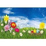 YongFoto 1,5x1m Poliestere Fondale Foto Fiori di primavera luminosi Prato di erba Uova di Pasqua Cielo blu Sfondo fotografico Fotografia Sfondi per foto Partito Studio Puntelli