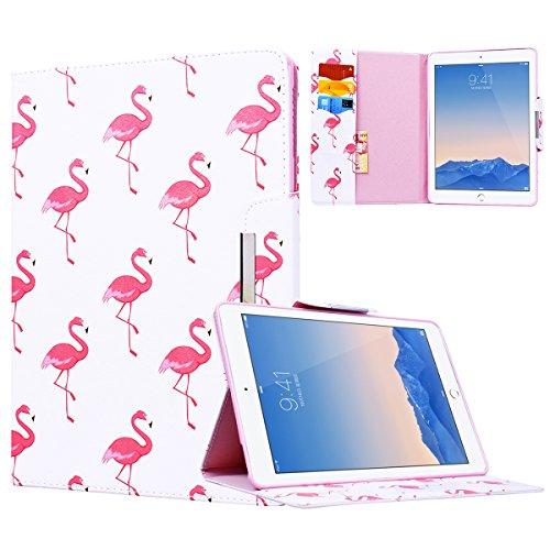 2-licht-tasche (Yokata Apple iPad Air 2 / iPad 6 Hülle Case Schutzhülle Tasche mit Standfunktion und Auto Sleep / Wake Up Funktion Slim Ultra Dünn Hochwertiges PU Leder Etui Ledertasche für iPad Air 2 / iPad 6 (9,7 Zoll) Tablet Etui - Roter Flamingo)