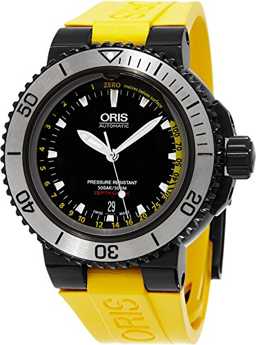 Oris Aquis Depth Gauge 733.7675.4754. Set 46mm automático de iones de acero inoxidable bañado en caso no de goma amarillo Sapphire reloj para hombre