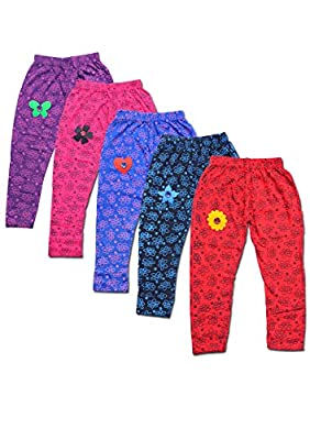 T2F Kids Girls Printed Leggings (Pack Of 5) Black-Red-Blue-Rose-Purple