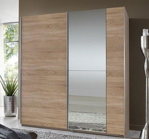 2-trg. Schwebetürenschrank in Eiche sägerau-Nbldg., mit 1 Spiegeltür, Maße B/H/T ca. 180/198/64 cm