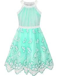 Mädchen Kleid Türkis Schmetterling Bestickte Halfter Kleiden Gr. 104-146