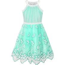 Sunny Fashion Vestido para Niña Turquesa Mariposa Bordado Halter Fiesta 5-12 Años