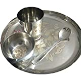 Baby Stainless Steel Dinner Set With Lazer Print 21cm
