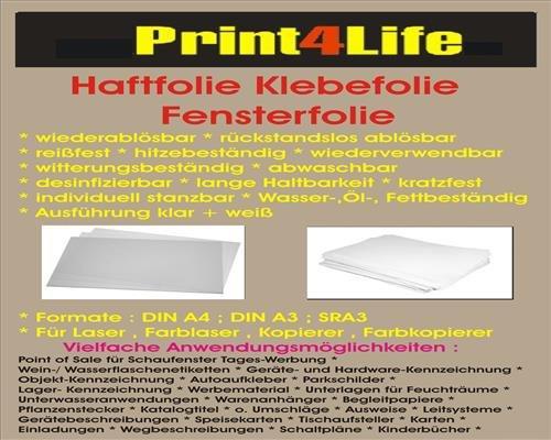 Preisvergleich Produktbild 10 Blatt DIN A3 60µm matt weiße Haftfolie Klebefolie Fensterfolie wiederablösbar -rückstandslos ablösbar- reißfest hitzebeständig wiederverwendbar witterungsbeständig abwaschbar desinfizierbar lange Haltbarkeit