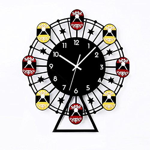LINA Horloge Murale 3D, Fine 12 Pouces européenne Moderne Moderne coloré Simple Style, Chiffres Arabes Conception Silencieux, Home Decor Grand Horloge Art Noir