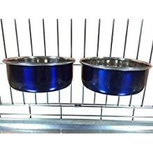 Ellie-Bo Pair of Dog Bowls For Crates, Cages or Pens and 3 Sizes (0.9Ltr Medium, Blue)