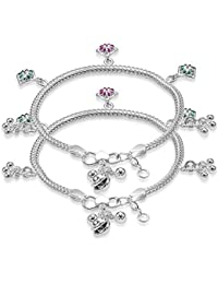 Taraash Green and Pink Sterling Silver Floral Charm Anklets for Boys and Girls (AN1026S)