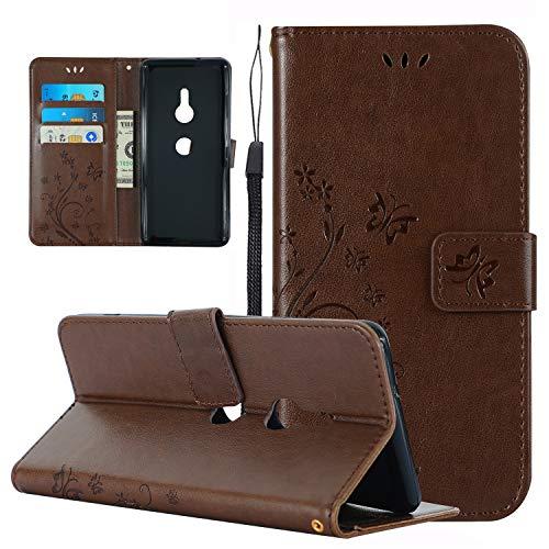Nnopbeclik Etui Kompatibel mit Sony Xperia XZ3 Hülle Leder, Handyhülle Sony Xperia XZ3 Case Silikon Stoßfest[Magnetisch]Portefeuille/Ledertaschea Flip Cover Muster braun