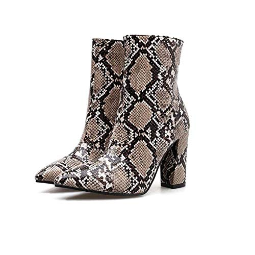Mamrar 10cm Chunkly Heel Snake Pattern Ankle Bootie Party Dress Boot Frauen Sexy Pointed Toe Zipper OL Court Shoes Eu Size 35-40,Brown,38EU -