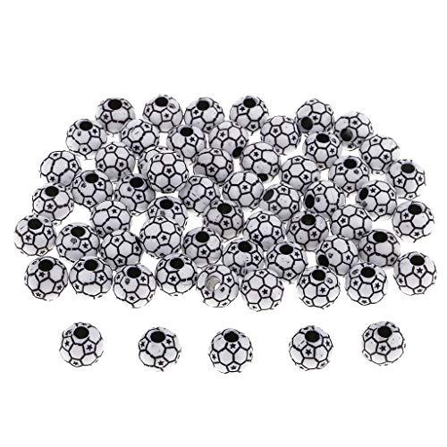 IPOTCH 60x Fußball Perlen zum auffädeln, Bastelperlen Schmuckperlen zum basteln Perlen mit Loch - Schwarz-Weiss