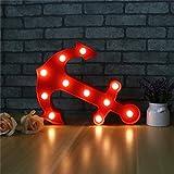 GWELL LED Nachtlicht Anker Wandlicht ABS Batteriebetrieb LED-Deko Wanddeko für Kinderzimmer Schlafzimmer Wohnzimmer Warmweiß 0.5W Rot