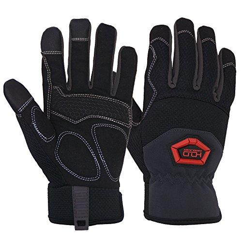 Handlandy Arbeitshandschuhe Herren, Flexible Grip Handschuhe Touch Screen - Anti Vibration & Impact, Kunstleder Palm/Mesh zurück (M) (Herren Grip Arbeitshandschuhe)