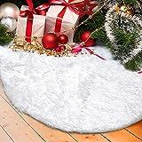 Tenrany Home Falda de Árbol de Navidad, 48 Pulgadas Blanco Peluche Christmas Tree Skirt Felpa Base de Árbol de Navidad para la Navidad año Vacaciones Decoración (122cm)