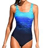 SANFASHION à Durée Limitée Été Femme Classique Vintages Maillots de Bain Col Zippé Bikinis 1 Pièces (Medium, Bleu Rainbow)