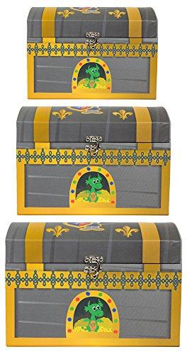 Ritter Schatzkiste - 3er Set - Schatztruhe Dekoration für Geburtstag, Hochzeit oder Mottoparty - Box Truhe Kiste für kleine und große Ritter (Schatztruhen-set)