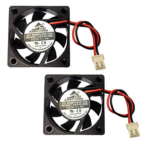 2-Pack 40mm x 40mm x 10mm 4010 12V 0,15A DC Brushless Kugellager Lüfter 2 Pins AV-F4010MB 12 UL TÜV