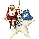 Enesco Heartwood Creek Oggetto Decorativo Babbo Natale Sospensione Sulla Stella, Resina, Multicolore