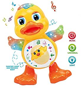 Toyvala Cute Dancing Duck Toy with Reflected Lights & Wonderful Music for Kids,Remote Control,(Pack of 2) Multicolor