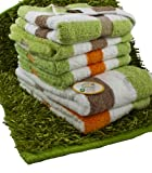 Gözze élégant ensemble de bain composé de 4 serviettes de toilette et 2 draps de douche à rayures , 100% coton , excellente qualité 550 g/m², moelleux et absorbant et 1 tapis de bain Shaggy vert, le tout  Standard 100