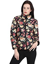 Martini Floral Winter Quilted Full Sleeve Jacket (Black, Large)
