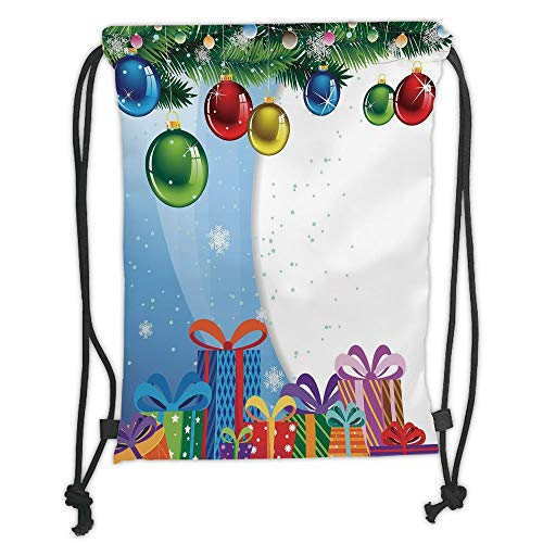 Fir Multi Color Christmas Tree (GONIESA Drawstring Sack Backpacks Bags,Christmas,Colorful Surprise Present Boxes Bowties and Vibrant Xmas Balls Fir Tree Branches Decorative,Multicolor Soft Satin,5 Liter Capacity,Adjustable St)