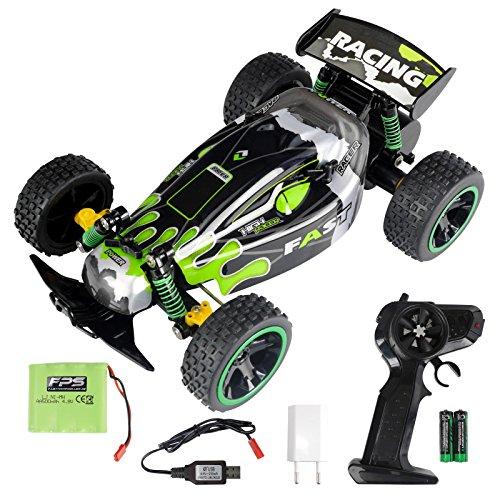 Monster-truck-bundle (FPS RTR Bundle: Rayline RR18 B, Grün, 2.4G Elektro RC Buggy Monstertruck , Kinder Spielzeug, Ferngesteuertes Auto, Pistolenfernbedienung, 2WD, Offroad, 1:18 + 500mAh Akku, 2xAA Batterie, USB Adapter)