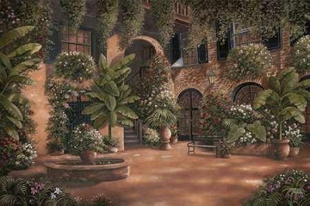 French Quarter Courtyard I par Brown, Betsy -Imprimé beaux-arts sur toile - Petit (110 x 73 cms)