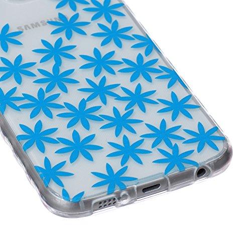 iPhone 6/6s Plus 5.5 Inch Cas Case,iPhone 6/6s Plus couverture,24/7 boutique Noir Lace Lotus Concevez Scratch Anti-TPU Protection Goutte Siliciume pare-chocs Retour couverture de housse Ultra Slim min Marguerite Bleue