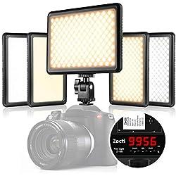 Zecti Lampe LED Vidéo Caméra Portable 4-en-1 216 LED, éclairage vidéo pour DSLR DV caméscope commutable entre la lumière douce et lumière directe, faisceau bas et poutre d'entraînement avec 3200-5500K