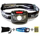Xluminos Super Bright CREE LED Headlamp 160 Lumens - 5 Modes, White & Red LEDs, 2 x Adjustable Straps, Pouch & Batteries Included, IPX6 Water Resistant - Great For Running, Camping, Hiking & Fishing