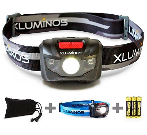 Xluminos Lampe frontale super lumineuse LED CREE 160lumens5modes, LEDs Blanches et rouges 2sangles réglables, étui et piles incluses, IPX6résistant à l'eau–Idéal pour la course à pied, le camping, la randonnée et la pêche