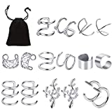8 Paare Edelstahl Ohrclips Nicht Piercing, Vibury Ohr Manschette Helix Knorpel Clip Ohrringe für Männer Damen (Stahl Farbe)
