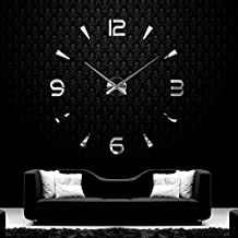 Anself ¡Creativo! DIY Reloj de pared extraíble de dígitos simples del efecto de espejo de acrílico vidrio de decal para la decoración del