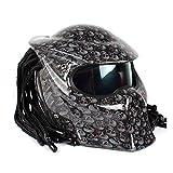 Lsrryd Motorradhelm Predator Vollgesichtsmaske Mann mit Fransen-Zöpfen LED-Licht - Inklusive ECE-Zulassung (größe : L)