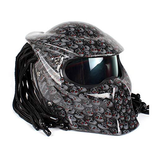 Yunyisujiao Motorrad-Helm Predator Gesichtsmaske Herren Zopf mit LED Licht - inkl. ECE Zulassung XL