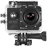 Action Cam, icefox  Wasserdichte Wi-Fi Action-Kamera, 12 MP, 1080 p, HD 2.0' LCD, Taucherhelm, Sportwagen-Kamera mit kostenlosem Accessories-Kit (schwarz)